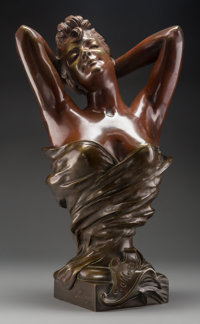 After Nicholas Mayer Le Matin Bronze with brown patina 22 inches (55.9 cm) high Inscribed and