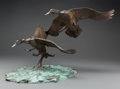 Fine Art - Sculpture, American, Clark Everice Bronson (American, b. 1939). Wings Against theWind, Mallards, 1981. Bronze with polychrome. 18 inches (45...