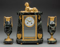 Clocks & Mechanical:Clocks, A Three-Piece French Egyptian Revival-Style Gilt Bronze and Marble Clock Garniture, 20th century. Marks to clock face: E. ... (Total: 3 Items)