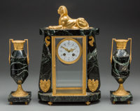 A Three-Piece French Egyptian Revival-Style Gilt Bronze and Marble Clock Garniture, 20th century Marks to clock fa