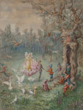 Fine Art - Work on Paper:Watercolor, Montagu Barstow (British, fl. 1897-1916). King and Queen of theFairies Meeting the Woodland Gnomes, 1893. Watercolor an...
