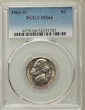 Jefferson Nickels, 1961-D 5C MS66 PCGS. PCGS Population: (45/1). NGC Census: (100/2). Mintage 229,342,752. ...