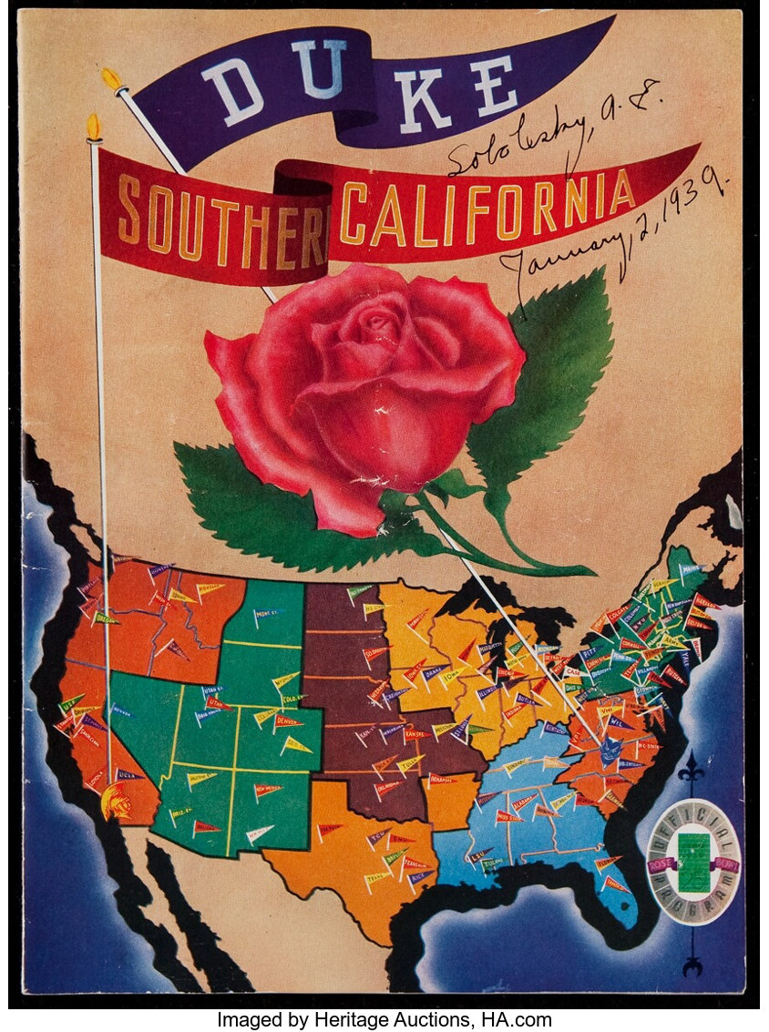 1939 Rose Bowl Program - Duke vs USC. ... Football Collectibles ...