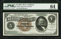 Large Size:Silver Certificates, Fr. 264 $5 1886 Silver Certificate PMG Choice Uncirculated 64.. ...