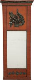 Furniture : Continental, An Austrian Biedermeier Mahogany Mirror with Avian and FruitRelief, early 19th century. 56 h x 25 w x 2-1/2 d inches (142.2...