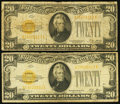 Small Size:Gold Certificates, Fr. 2402 $20 1928 Gold Certificates. Very Good. Two Examples.. ... (Total: 2 items)