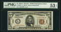 Small Size:World War II Emergency Notes, Fr. 2302* $5 1934A Hawaii Federal Reserve Note. PMG AboutUncirculated 53 EPQ.. ...