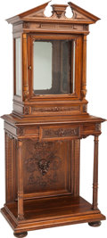 Furniture : Continental, A Renaissance Revival Walnut Vitrine Cabinet and Stand. 72 incheshigh x 30-1/2 inches wide x 19 inches deep (182.9...