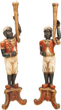 Furniture : Continental, Two Polychromed Wood Figural Blackamoor Torchieres. 65 inches high (165.1 cm). ... (Total: 2 Items)