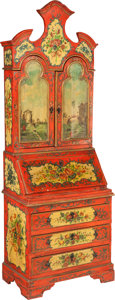 Furniture : Continental, A Venetian-Style Painted Pine Two-Part Secretary. 77 h x 27 w x16-1/8 d inches (195.6 x 68.6 x 41.0 cm). ......