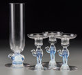 Glass, A Libbey Nash Clear and Opalescent Glass Silhouette Hare Vase and Three Camel Candlesticks, Toledo, Ohio, second... (Total: 4 Items)