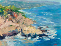 Rita Hoffman Shulak (American, 20th Century) Sun-kissed Montage Rock Oil on canvas 12 x 16 inche