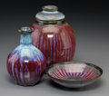 Three Harding Black Flame Red Sunburst Glazed Earthenware Vessels, San Antonio, Texas, 1972 Marks: Harding Blac