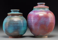 Two Harding Black Jun-Type Glazed Earthenware Covered Jars, San Antonio, Texas, 1971-1973 Marks: Harding Black