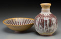 Ceramics & Porcelain, A Harding Black Yellow Sunburst and Flame Red Glazed Terracotta Vase and Bowl, San Antonio, Texas, 1972. Marks: Harding Bl... (Total: 2 Items)