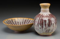 A Harding Black Yellow Sunburst and Flame Red Glazed Terracotta Vase and Bowl, San Antonio, Texas, 1972 Marks: