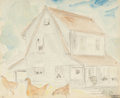 Fine Art - Work on Paper:Watercolor, Oscar Florianus Bluemner (American, 1867-1938). Chickens inFront of a Farmhouse. Watercolor and pencil on paper. 9-1/4 ...