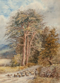 Fine Art - Work on Paper:Watercolor, N. Neal Solly (British, 1811-1895). Tending Sheep, 1887.Watercolor on paper. 19-1/4 x 14-1/8 inches (48.9 x 35.9 cm). S...