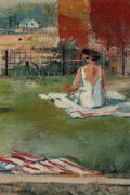 Fine Art - Painting, American:Modern  (1900 1949)  , Louis George Bouché (American, 1896-1969). Woman in Yard.Oil on canvas laid on panel. 11-3/4 x 8-1/2 inches (29.8 x 21....