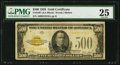 Small Size:Gold Certificates, Fr. 2407 $500 1928 Gold Certificate. PMG Very Fine 25.. ...