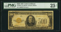 Small Size:Gold Certificates, Fr. 2407 $500 1928 Gold Certificate. PMG Very Fine 25 Net.. ...