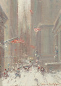 Fine Art - Painting, American, Johann Berthelsen (American, 1883-1972). Wall Street, New YorkCity. Oil on canvas laid on board. 8 x 6 inches (20.3 x 1...