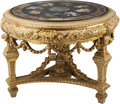 Furniture : Continental, A Large Continental Gris Piente, Giltwood, and Faux Marble CenterTable. 32 inches high x 44 inches diameter (81.3 x 111.8 c...