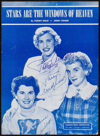 The Andrews Sisters: Stars Are the Windows of Heaven (Pickwick Music Corporation, 1940s). Autographed Sheet Music (4 Pag...