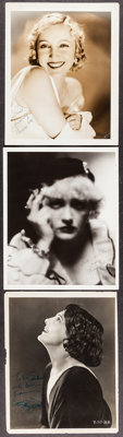 "Bessie Love by George Hurrell & Others Lot (MGM, Early 1920's). Autographed Portrait Photos (3) (Approx. 8"" X 1..."