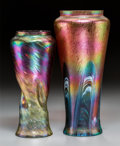 Art Glass:Other , Two Austrian Studio Glass Vases, circa 1900. 12 inches high x 5-1/2inches diameter (30.5 x 14.0 cm) (larger). ... (Total: 2 Items)