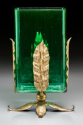 Art Glass:Other , A Steuben Green Glass Vase with Gilt Metal Mounts. 12 inches high x7 inches diameter (30.5 x 17.8 cm). ...