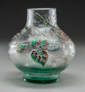 Art Glass:Galle, A Galle Enameled Glass Spiderweb and Berry Vase withMartele, Nancy, France, circa 1890. MARKS: E. Galle, Nanc...