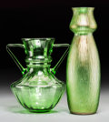 Art Glass:Other , Two Austrian Green Glass Vases, circa 1900. 14 inches high x 5 inches diameter (35.6 x 12.7 cm) (larger). ... (Total: 2 Items)
