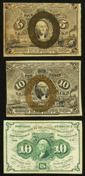 Fractional Currency:Second Issue, Fr. 1233 5¢ Second Issue;. Fr. 1242 10¢ First Issue;. Fr. 1244 10¢Second Issue, light staining on the back.. Fine... (Total: 3 notes)