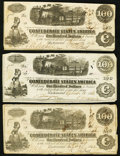Confederate Notes:Group Lots, T41 $100 1862 Three Examples.. ... (Total: 3 notes)