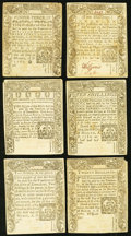 Colonial Notes:Connecticut, Connecticut March 1, 1780 Colonial Currency Lot of Six Notes Fr.CT-219, 220, 221, 222, 223, 224 Very Fine, slash cancelled. ...(Total: 6 notes)