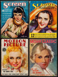 "Movie Posters:Miscellaneous, Screen Romances & Others Lot (Dell Publishing, 1934). Magazines(4) (Multiple Pages, 8.5"" X 11.5""). Miscellaneous."