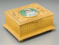 Decorative Arts, Continental:Other , A Louis XVI-Style Gilt Bronze Table Box Mounted with MiniaturePortrait, late 19th-early 20th century. Marks: (indistinct si...