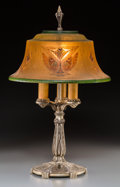 Lighting:Lamps, An American Art Deco Reverse-Painted Glass and Silvered Table Lamp Attributed to Pairpoint, circa 1925. 23-1/4 inches high x... (Total: 2 Items)