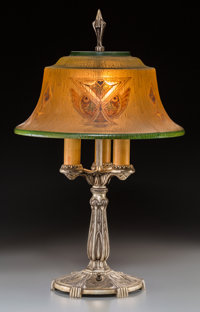 An American Art Deco Reverse-Painted Glass and Silvered Table Lamp Attributed to Pairpoint, circa 1925 23-1/4 inch