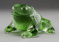 Art Glass:Lalique, A Lalique Green Frosted Glass Frog, post-1945. Marks: Lalique,France. 3-1/8 inches high (7.9 cm). ...