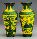 Asian:Chinese, Two Chinese Yellow and Green Peking Glass Vases. 10-1/2 inches high(26.7 cm). ... (Total: 2 Items)