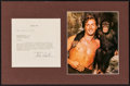 """Movie Posters:Miscellaneous, Lex Barker (1949). Matted Signed Note & Color Photo (12"""" X18.5""""). Miscellaneous.. ..."""