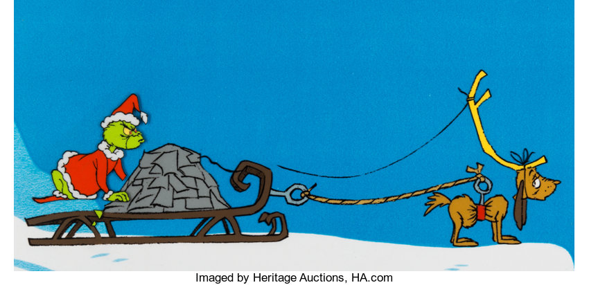 ... Animation Art:Production Cel, Doctor Seuss' How the Grinch Stole Christmas Grinch and ...