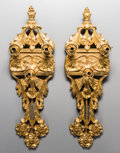 Decorative Arts, Continental:Lamps & Lighting, A Pair of Art Nouveau Gilt Bronze Three-Light Wall Sconces, early20th century. 31-1/4 inches high x 10 inches wide x 4 inch...(Total: 2 Items)