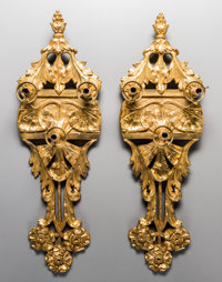 A Pair of Art Nouveau Gilt Bronze Three-Light Wall Sconces, early 20th century 31-1/4 inches high x 10 inches wide