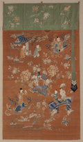 Asian:Chinese, A Framed Chinese Silk Embroidered Wall Panel. 71-1/2 inches high x40-1/2 inches wide (181.6 x 102.9 cm) (panel). 81 inches ...