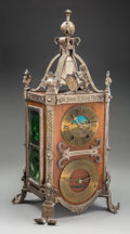 Clocks & Mechanical:Clocks, A French Baroque-Style Mahogany, Pewter, and Glass Mantel Clock with Lunar and Calendar Dials, circa 1900. Marks to face: ... (Total: 2 Items)