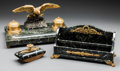 Decorative Arts, French:Other , A Three-Piece French Second Empire Gilt Bronze and Marble Desk Set,late 19th century. 8-1/8 h x 15-3/8 w x 9 d inches (20.6... (Total:3 Items)