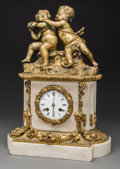 Clocks & Mechanical:Clocks, A French Louis XV-Style Gilt Bronze and Marble Mantel Clock, 19th century. 16-1/2 h x 11-3/4 w x 6-3/4 d inches (41.9 x 29.8... (Total: 2 Items)